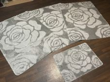 ROMANY WASHABLES ROSE DESIGNS SETS OF 4 MATS XLARGE SIZE 100X140CM GREY/SILVER